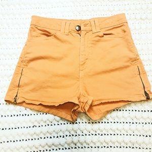 American Apparel Denim shorts orange zippers sz 23